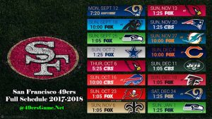 San Francisco 49ers Game TV Schedule